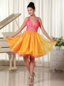 Lovely Colorful Beaded Mini-length Semi-formal Prom Dresses with Straps