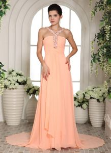 Lovely Peach Beaded V-neck Court Train Prom Gown Dresses in Glasgow