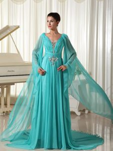 Turquoise V-neck Ruched Long Sleeves Formal Prom Dresses with Appliques