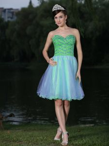 Colorful Lace-up Beaded Sweetheart Short Informal Prom Dress in Louisiana