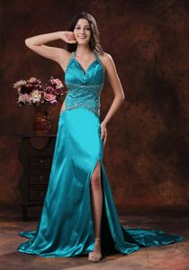 Turquoise Halter Beaded High Slit Semi-formal Prom Dresses with Cutout