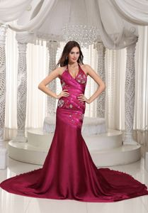 Luxurious Fuchsia Halter Chapel Train Formal Prom Dress with Embroidery