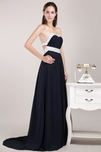 Sexy Backless Black Sweetheart Beaded Brush Formal Prom Dress in Chicago