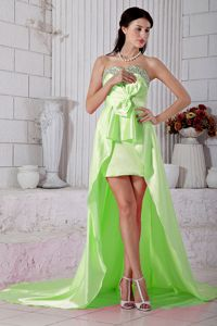 New Yellow Green Beaded High-low Prom Attire with Bowknot in Effingham