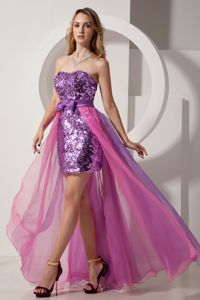 Two-Toned Purple Sequin Strapless High-low Junior Prom Dress with Bow