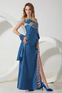 Leopard Teal Beaded Strapless High Slit Senior Prom Dresses with Feather