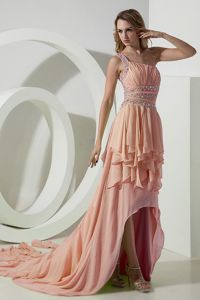 Pretty Peach One Shoulder Beaded High-low Junior Prom Dress with Layers