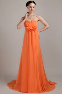 Modest Orange Ruched Sweetheart Brush Train Prom Dress with Flowers