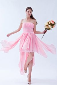 Asymmetrical Ruched Strapless Pink Informal Prom Dress with Beading