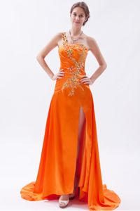 Orange One Shoulder High Slit Beaded Prom Gown Dress with Embroidery