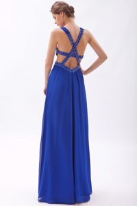 Royal Blue High Slit Beaded Semi-formal Prom Dresses with Cross Back