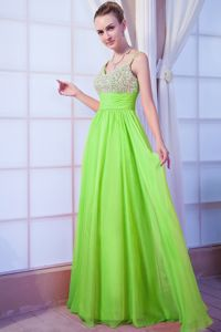 Spring Green Beaded Brush Train Junior Prom Dress with Straps in Aberdeen