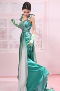 Unique Turquoise Brush Train Dress for Prom with Straps and Embroidery
