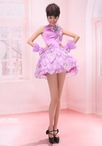 Perfect Bateau Lavender Mini-length Prom Outfits with Flowers in KA USA