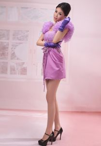 Special Lavender Ruffled Straps Short Junior Prom Dresses with Flowers