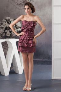 Burgundy Strapless Mini-length Prom Dresses with Bowknot and Ruffles