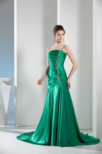 Modest Green One Shoulder Beaded Court Train Prom Gowns for Wholesale