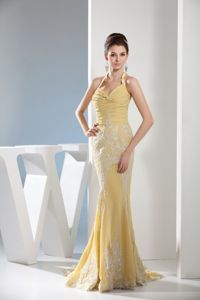 Gold Ruched Mermaid Halter Court Train Dress for Prom with Appliques