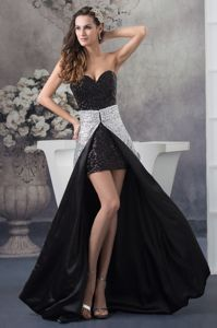 Black and White Sequin Watteau Train Sweetheart Prom Outfits in Altamont