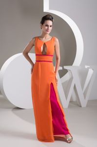 Unique Orange Scoop Floor-length Formal Prom Dress with Cutout Front