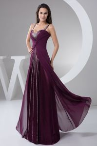 Modest Purple Beaded Brush Train Dresses for Formal Prom with Straps