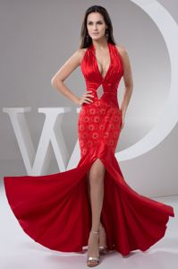 Sexy Red Ruched Halter Plunging Neckline Formal Prom Dress with Slit