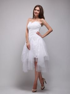 Cute White Sweetheart Ruched Knee-length Junior Prom Dress with Lace