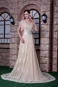 New V-neck Beaded Sweep Prom Dress in Champagne Chiffon and Lace