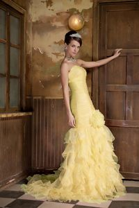 Mermaid Sweetheart Gold Brush Dress for Prom with Flowers and Ruffles