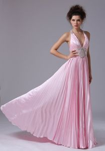 Sexy Halter Baby Pink Pleated Full-length Dress for Prom with Beading