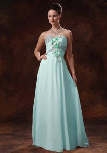 Lovely Baby Blue Sweetheart Beaded Long Prom Dresses with Appliques