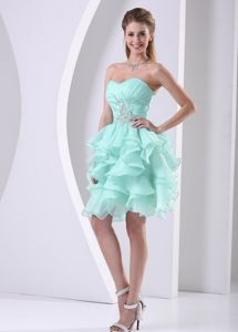 Apple Green Sweetheart Ruched Semi-formal Prom Dresses with Ruffles