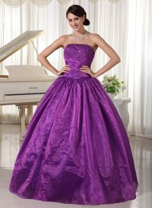 Strapless Eggplant Purple Beaded Full-length Prom Outfits in Garden City