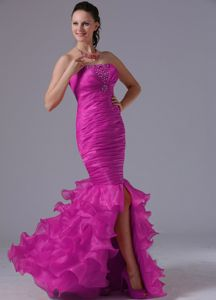 Fuchsia Mermaid Strapless Beaded Dress for Prom with Slit and Ruffles