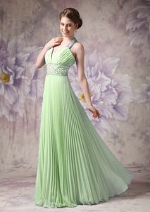 Pleated Halter Long Yellow Green Prom Dresses with Beading in Boise ID