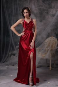 Slitted Beaded Wine Red Prom Dress for Summer with Special Back Design