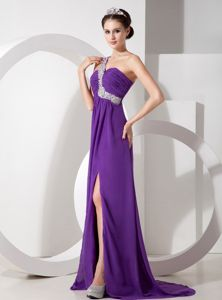 Orrville OH Eggplant Purple Empire Slitted Formal Prom Dress One Shoulder