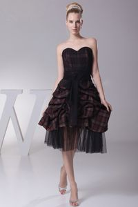 Necessary Plaid Tea-length Black and Brown Prom Dress with Pick-ups