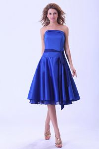 Most Recent Strapless Royal Blue 50s Style Swing Prom Dresses with Sash