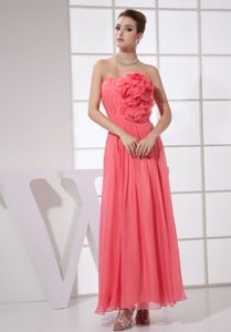 Wanted Watermelon Red Chiffon Ankle-length Dress for Prom with Flower
