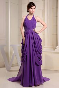 Brand New Halter Chiffon Draped Purple Formal Prom Dress with Appliques