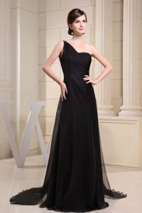 Most Popular Brush Train One Shoulder Black Prom Dress with Cool Back