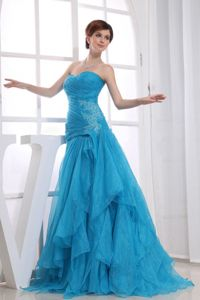 Best Seller A-line Appliqued Formal Prom Gown Dresses in Baby Blue