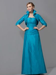 Popular Strapless Column Long Teal Prom Dresses for Mother of the Bride
