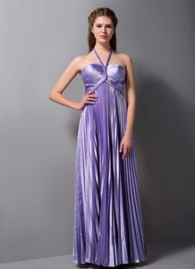 Famous Column Halter Pleated Long Lilac Prom Dresses in Oxford USA