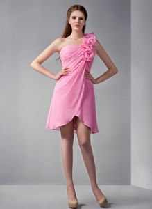 2013 Voguish One Shoulder Pink Mini Prom Dresses with Flowers in Chiffon