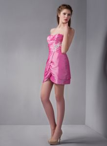 Impressive Sweetheart Mini-length Rose Pink Junior Prom Dress in Milford OH