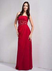 Empire Wine Red Long Prom Dress with Floral Appliques in Novelty OH