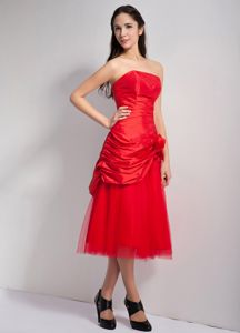 Uptown Strapless Tea-length Red Prom Dress for Summer with Pic-ups and Flower