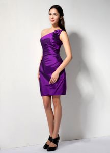 One Shoulder Mini-length Eggplant Purple Prom Outfits in Painesville USA